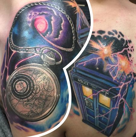 Dr. Who Tardis and pocket watch  Tattoo Design Thumbnail