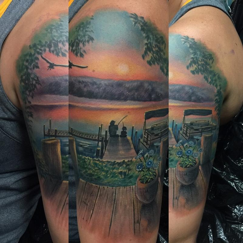 Sunset memorial scene by max egy tattoonow for Tattoo shops terre haute indiana