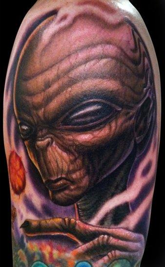 Freehand alien Tattoo Design Thumbnail