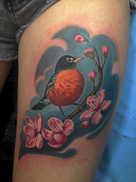 Robin on a cherry tree branch Tattoo Design Thumbnail