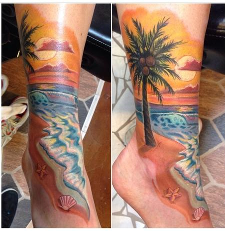 Free Hand Beach Scene Cover-Up  Tattoo Design Thumbnail