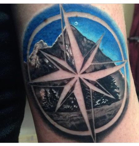 Tattoos - Mountain Scene with Negative Compass  - 98395