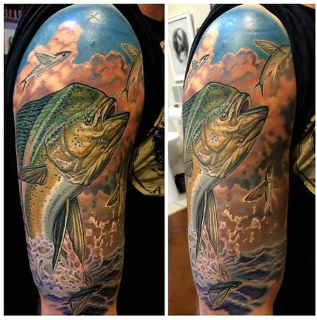 Tattoos - Mahi Mahi/Dolphin Fish Half Sleeve  - 99593