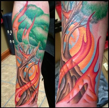 Tattoos - Tree with Flames - 98772