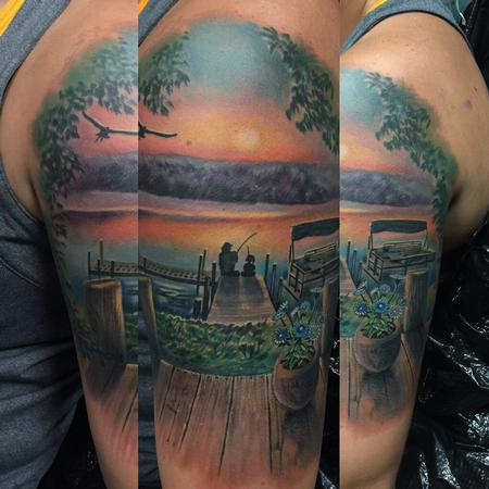 Sunset Memorial Scene Tattoo Design