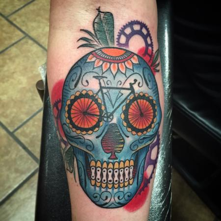 Day of the Dead Bike Skull Tattoo Design