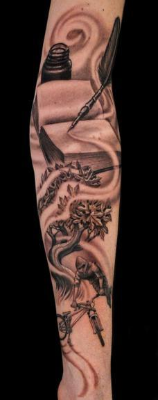 BMX rider/tree/book/quill  Tattoo Design Thumbnail
