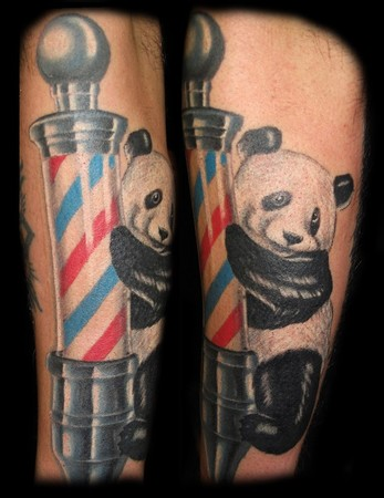 Panda on barber pole : Tattoos