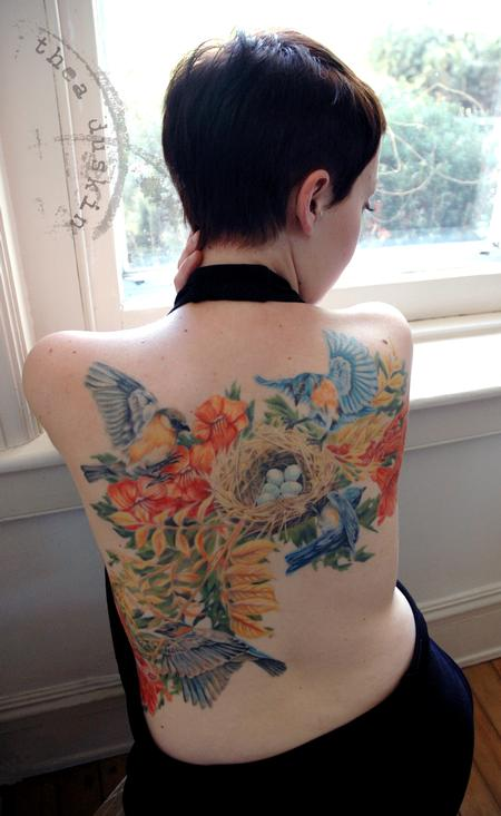 Tattoos - Bluebirds and Nest - 91471