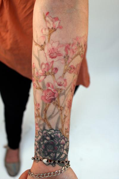 Cherry Blossom Arm Piece by Thea Duskin : Tattoos