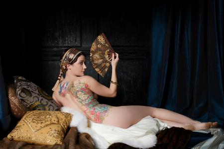 Thea Duskin - Flower Side Piece with Odalisque Pose