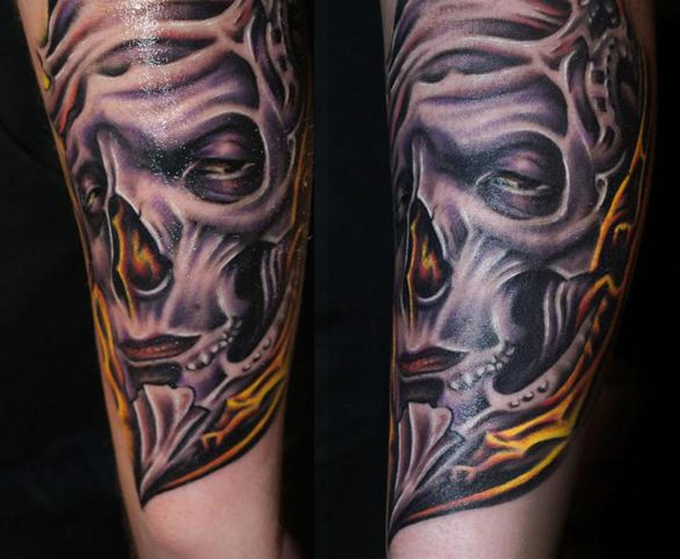 Color bio skull tattoo by gido tattoonow for Color skull tattoos