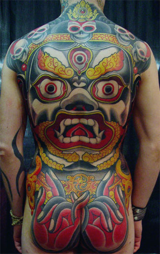guy with a crazy big mahakala tattoo wisdom compassion pinterest guys tattoo and love. Black Bedroom Furniture Sets. Home Design Ideas