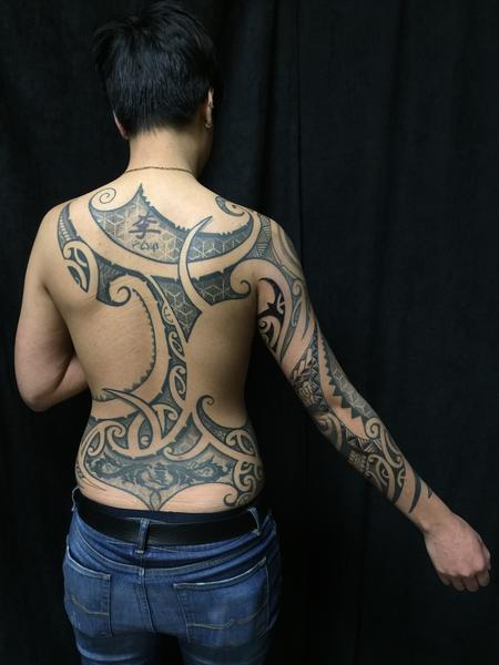 poly fusion back and sleeve Tattoo Design Thumbnail