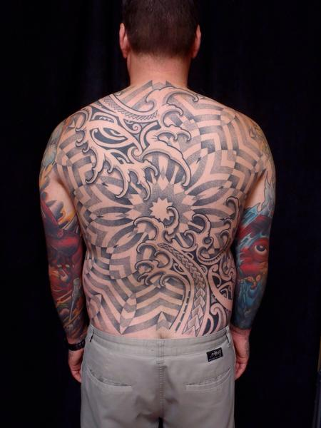 Tattoos - Water mandala poly back piece  - 99976
