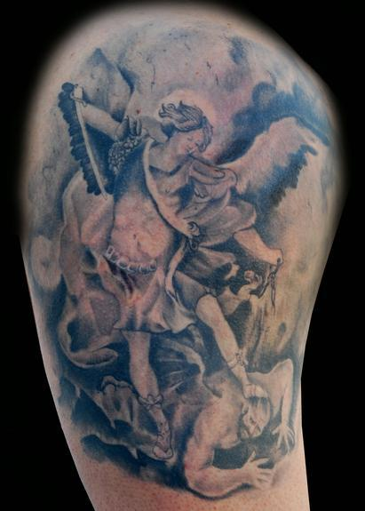 Pin heaven and hell tattoo kindle body painting network on for Battle between heaven and hell tattoo