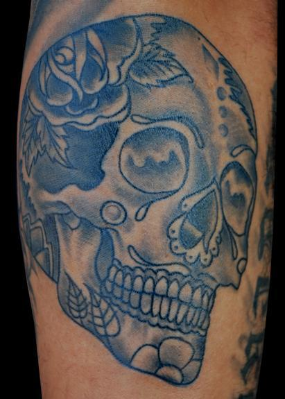 Adam Lauricella - Black and Gray Sugar Skull Tattoo
