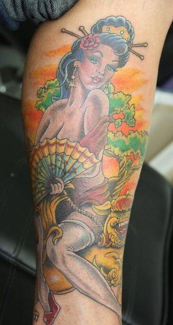 Tattoos - Mark Nattress - Geisha Oriental Pin Up Girl Close Up