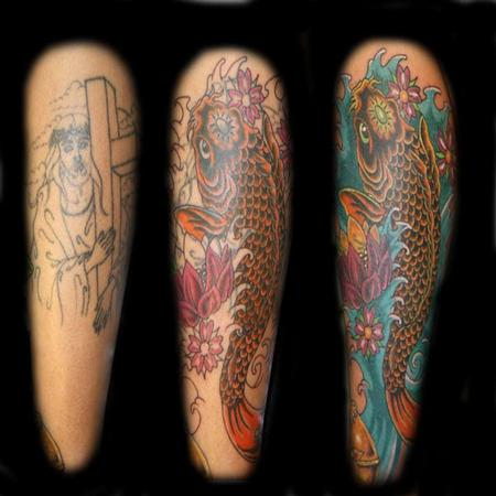 Tattoos - Mark Nattress - Koi Fish Cover Up