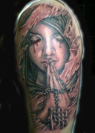 Praying angel by visiting artist alink kootaishi tattoonow for Praying angel tattoos
