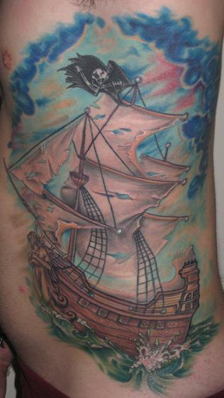 Pirate ship by brian gallagher tattoonow for Living dead tattoo haverstraw ny