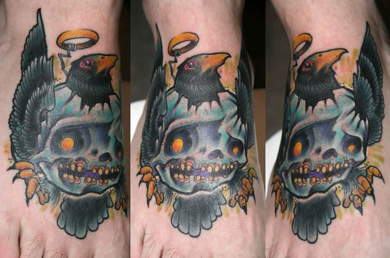 Crow and Skull Tattoo by Turk: TattooNOW