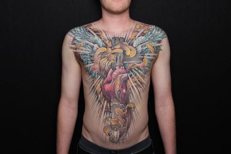 Tattoos - Heart, cross, sword and wings chest piece - 115776