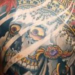 Tibetan Skull Back Piece Tattoo Design Thumbnail