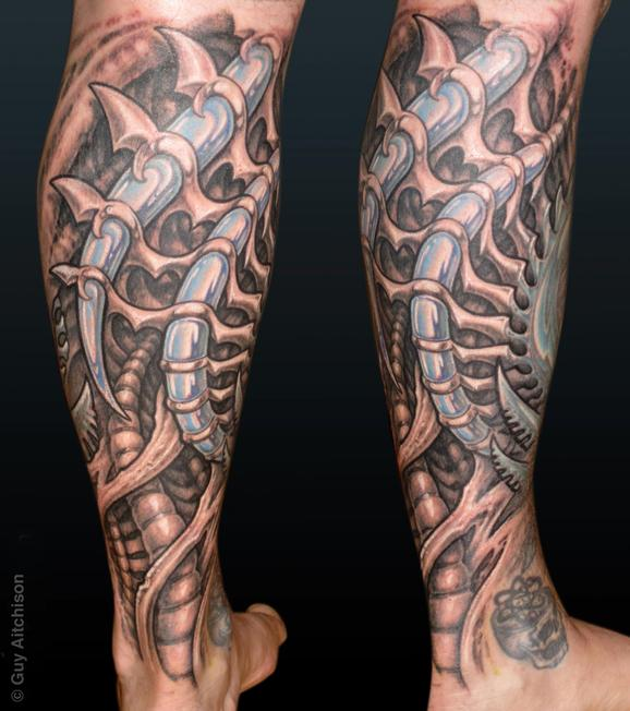 Tattoos - Rob, black and grey mech - 72582