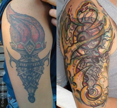 Tattoos - Dave, before and with marker drawing - 71519