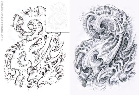 Tattoos - Online collaboration by Don McDonald and Guy Aitchison, steps 1-2; from The Biomech Encyclopedia - 72629