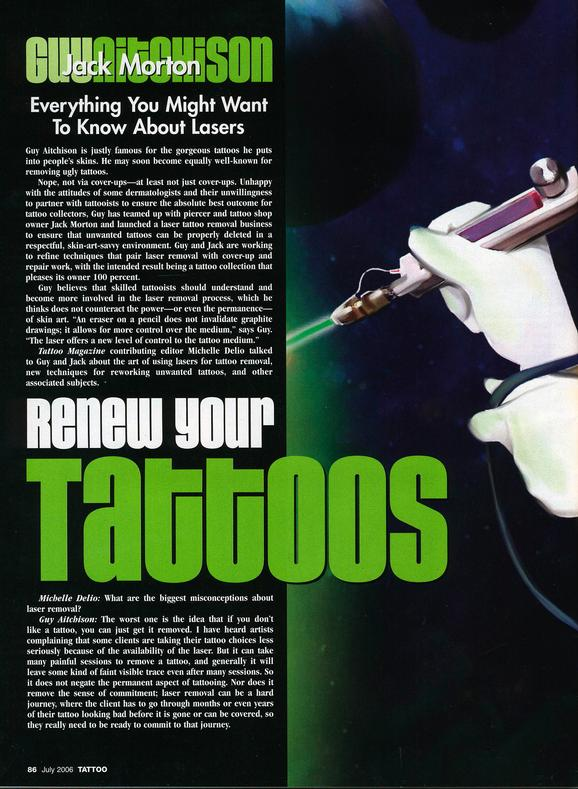 - Laser Article, Tattoo Mag, 2006, Page 1