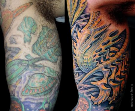Tattoos - David, inner arm, before and after - 71526
