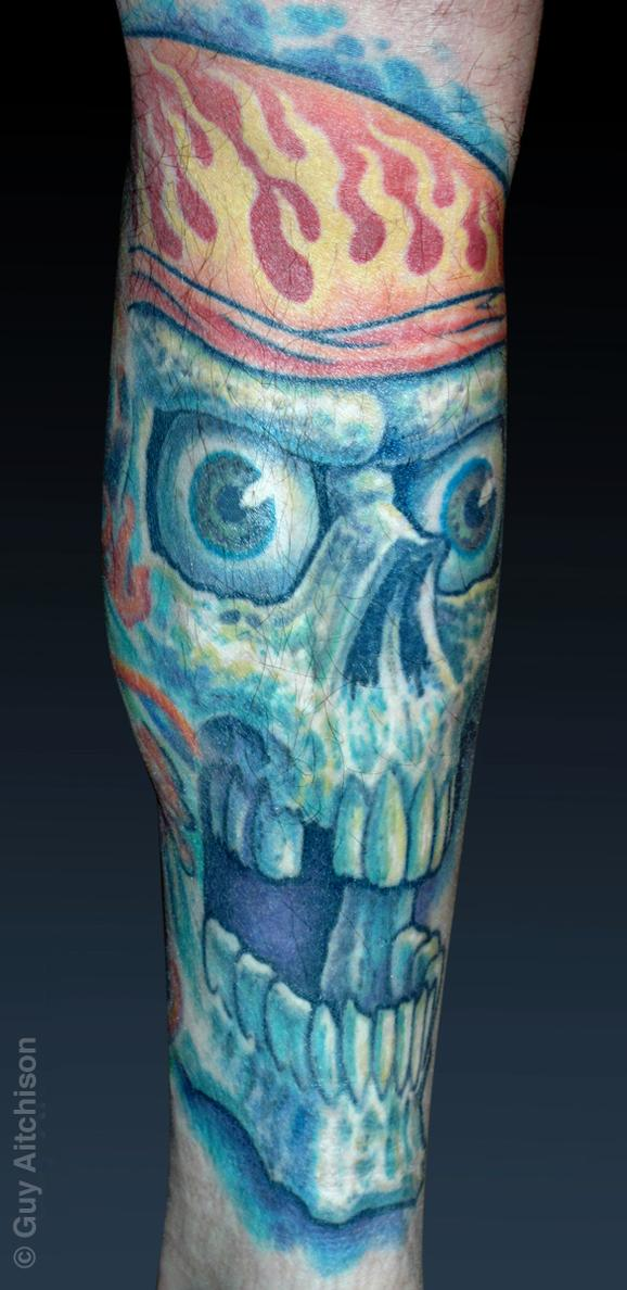 Tattoos - Mike, classic biker skull - 72601