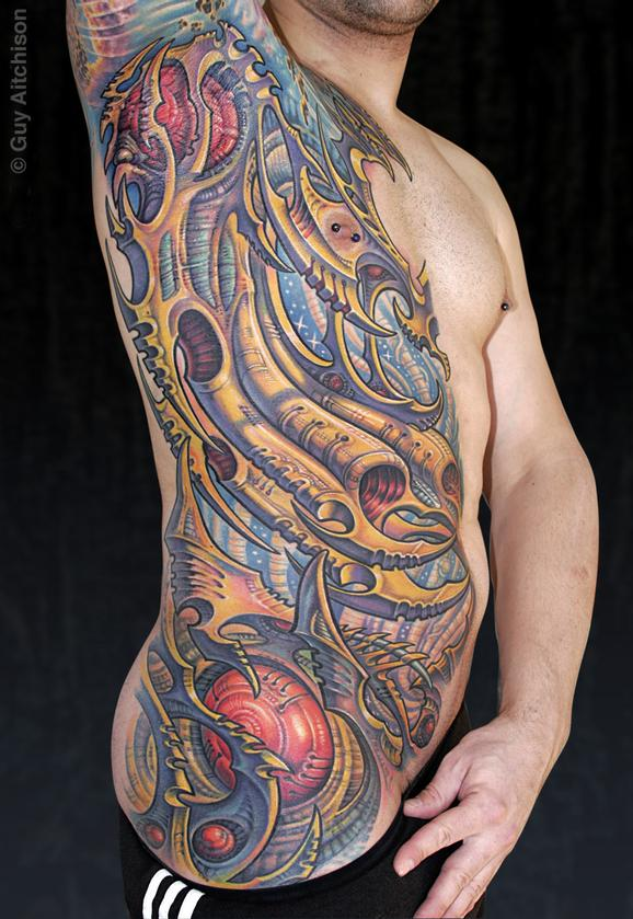 Tattoos - Anthony, giant biomech rib panel - 72604