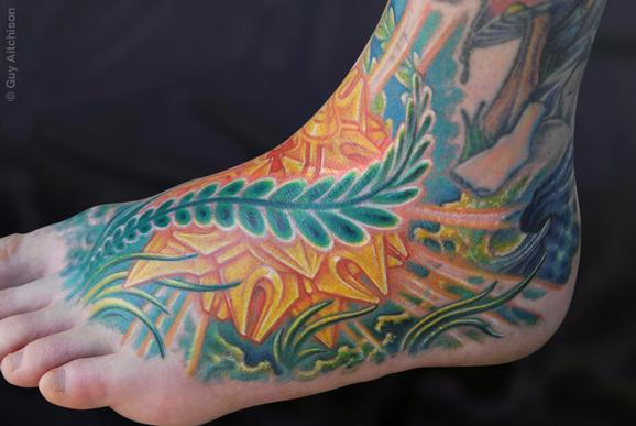 Tattoos - Mike, jungle lightform foot - 72616