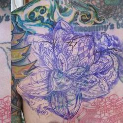 Tattoos - Mike, before and with stencil - 71516