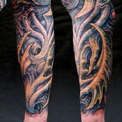 Tattoos - Kevin, burn scar coverup, detail - 71540