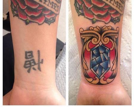 Kanji Coverup with Traditional Gem