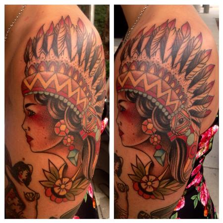 Tattoos - Traditional Indian Head - 109114
