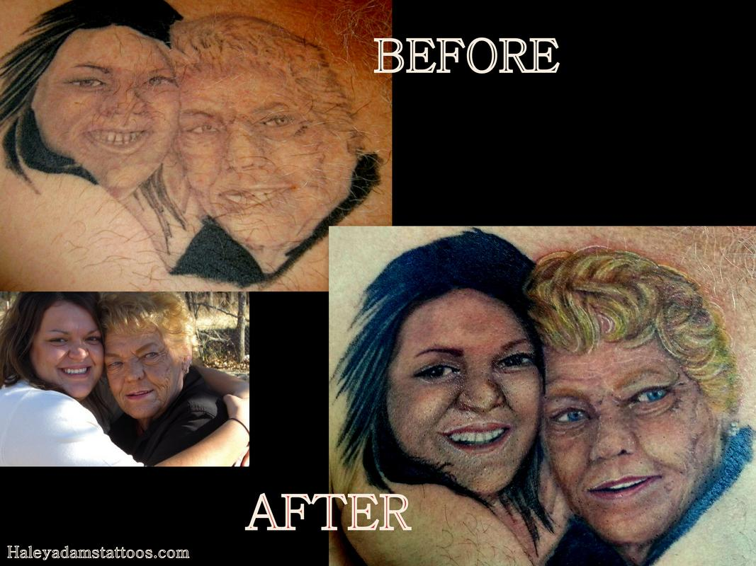 Cover-up fix tattoo, before and after portrait tattoo by Haley Adams ...