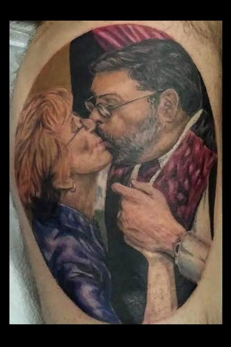 a tattoo portrait of a mom and dad Tattoo Design Thumbnail