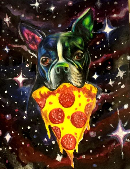 Tattoos - Roxy the pizza terrier painting/color pencil - 99205