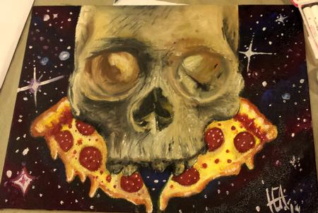 Tattoos - skull pizza painting - 99203