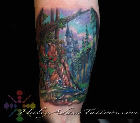 Haley Adams - Beauty and the Beast Forest tattoo