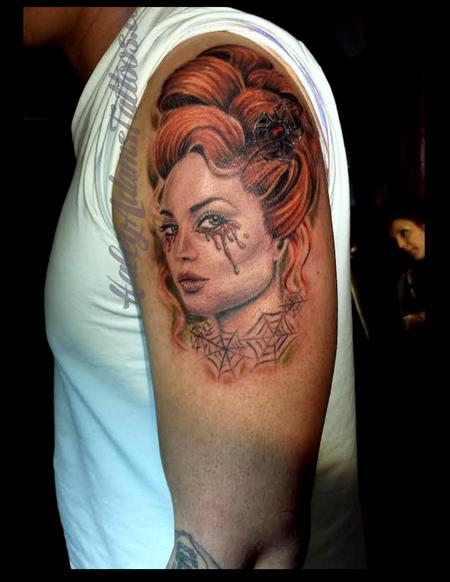 Tattoo of a woman crying blood Tattoo Design Thumbnail