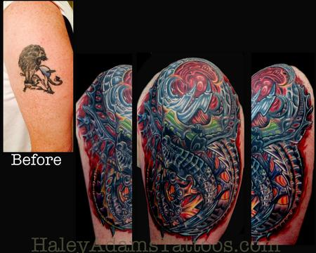 Tattoos -  Biomechanical Tattoo. before and after - 102289