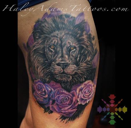 Tattoos - lion with roses tattoo - 122998