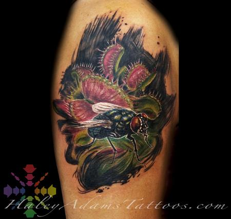 Haley Adams - fly and traps tattoo