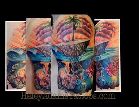 island and mutant fish tattoo Tattoo Design Thumbnail